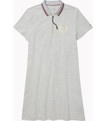 tommy hilfiger women's adaptive crested zip polo dress grey heather - m