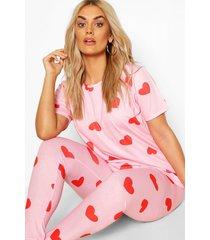 plus hartjes pyjama set, pink
