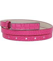 cinto em couro croco rosa pink