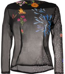 anntian party night-print silk blouse - black