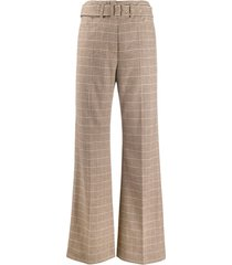 nanushka clara checked tweed trousers - brown