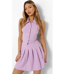 crop top met kraag en mini rokje, lilac