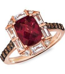 le vian women's 14k strawberry gold®, raspberry rhodolite®, peach morganite™, chocolate diamond® & nude diamond™ ring - size 7