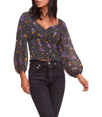 women's astr the label surplice smocked top, size x-large - black
