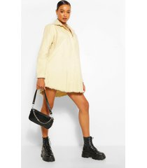 oversized spijkerblouse jurk met gerafelde zoom, steenrood