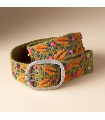 women's embroidered autumn leaves wool belt