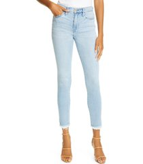 women's frame le skinny high waist raw hem ankle jeans, size 24 - blue