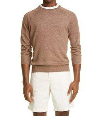 men's brunello cucinelli linen & cotton raglan sweater, size 48 eu - brown