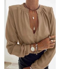 camicetta casual da donna a maniche lunghe con scollo a v plissettato tinta unita