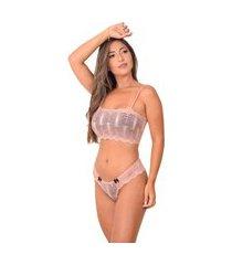 conjunto lingerie top faixa sem bojo - cjsrd010-rose-g rosa