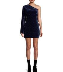 edie one-shoulder velvet mini dress