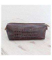 leather travel bag, 'espresso texture' (el salvador)