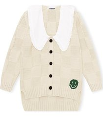 cotton rope knit cardigan in brazilian sand