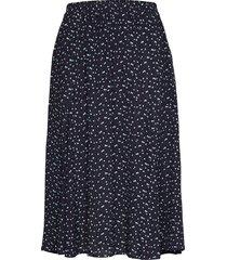 u8071, woven skirt below knee knälång kjol blå saint tropez