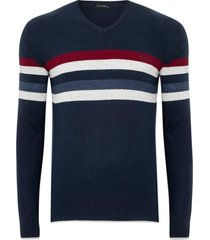 suéter tricot listrado navy comfort - kanui