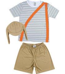 fantasia shorts e camiseta listrada douvelin marrom - marrom - feminino - dafiti
