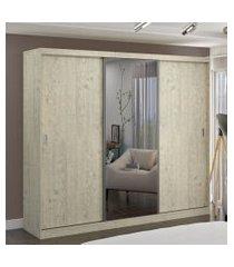 guarda roupa casal 3 portas c/ 1 espelho marfim areia m foscarini off-white
