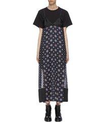 komon print side slit maxi dress