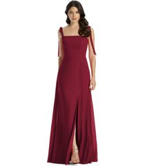 dessy collection tie-strap chiffon gown