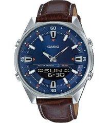 reloj analógico-digital hombre casio amw-830l-2a - marrón con azul
