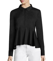 long-sleeve peplum shirt