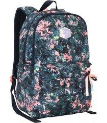 mochila tiggo flores azul con cinta head