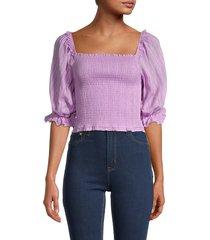 allison new york women's puff-sleeve smock top - lavender - size m