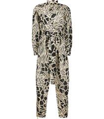 alberta ferretti animal print belted shirt jumpsuit - neutrals