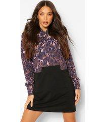 tall luipaardenprint colour block sweatshirt jurk met capuchon, black