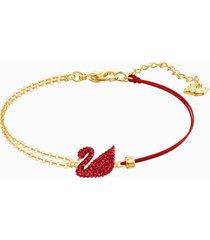 braccialetto iconic swan, rosso, placcatura oro