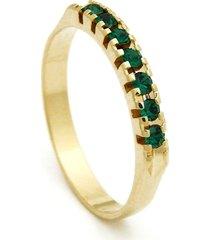 meia aliança horus import banhada ouro amarelo pedras esmeralda verde - tricae