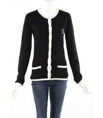 dolce & gabbana black white knit logo cardigan sweater black/white sz: custom