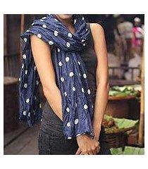 batik scarf, 'blue polka retro' (thailand)