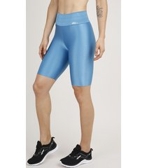 bermuda feminina esportiva ace com textura azul