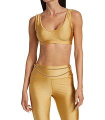 weworewhat women's v-neck sports bra top - gold - size s