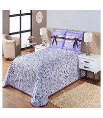 kit cobre leito holambra queen lilás - 03 pç