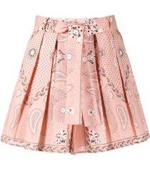 sandro paris pleated bandana print shorts - pink