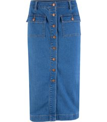 gonna di jeans elasticizzata midi (blu) - john baner jeanswear