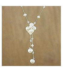 cultured pearl pendant necklace, 'snow queen' (thailand)