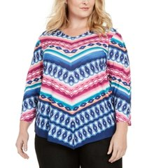 alfred dunner plus size road trip geometric chevron knit top