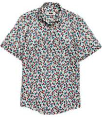 joseph abboud tropical pattern short sleeve sport shirt