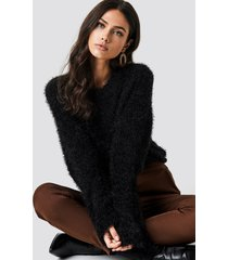 na-kd feather wide sleeve sweater - black