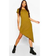 asymmetrische midi-jurk, olijf