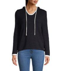 joan vass women's contrast-trim hoodie - grey heather - size s