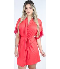 hobby roupã£o bravaa modas robe amarrar lingerie 238 vermelho - vermelho - feminino - poliã©ster - dafiti