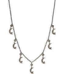 black rhodium-plated sterling silver & diamond crescent moon charm necklace