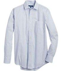 cole haan grand.s light blue gingham check sport shirt