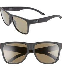 women's smith lowdown xl 2 60mm chromapop(tm) polarized square sunglasses - matte black/ black