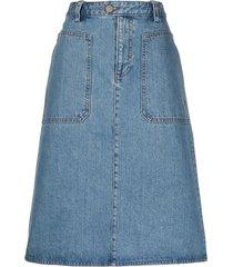 a.p.c. a-line denim skirt - blue