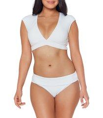 bleu by rod beattie walk the line crop bikini top, size 12 in white at nordstrom